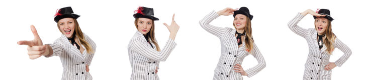 The beautiful girl in striped clothing isolated on white Royalty Free Stock Image