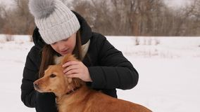 Beautiful girl strokes and feels sorry for her dog winter park. Woman kissing dog hugging Royalty Free Stock Photography