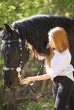 Beautiful girl stroking horse outside. Young beautiful girl stroking a horse outside Royalty Free Stock Photos