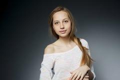 Beautiful girl studio portait on dark background Stock Images