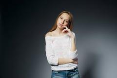 Beautiful girl studio portait on dark background Royalty Free Stock Photos