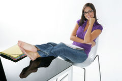 Beautiful girl studying Royalty Free Stock Images