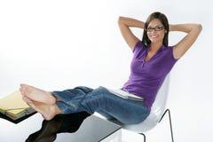 Beautiful girl studying Stock Photography