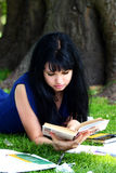 Beautiful girl studying in park Royalty Free Stock Image