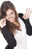Beautiful girl in stylish glasses making ok sign Stock Photos