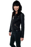 Beautiful girl in a stylish leather jacket Royalty Free Stock Photos