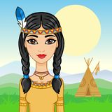 Beautiful girl in a suit of the North American Indian Royalty Free Stock Images