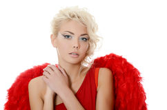 The beautiful girl in a suit of a red angel Royalty Free Stock Image