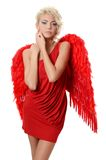 The beautiful girl in a suit of a red angel Royalty Free Stock Photos