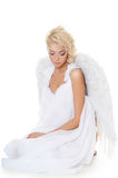 The beautiful girl in a suit of a white angel Royalty Free Stock Images