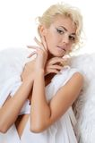 The beautiful girl in a suit of a white angel Royalty Free Stock Photography