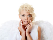 The beautiful girl in a suit of a white angel Royalty Free Stock Image