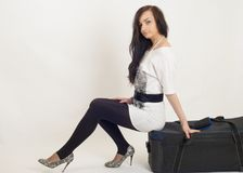 Beautiful girl with suitcase Royalty Free Stock Photos