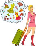 Beautiful girl with suitcase. Royalty Free Stock Photos