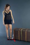 Beautiful girl with suitcase Stock Image