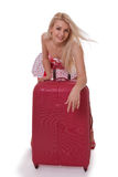 The beautiful girl with a suitcase Royalty Free Stock Photo