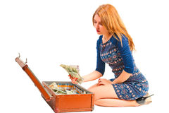 Beautiful girl with suitcase  Stock Photography