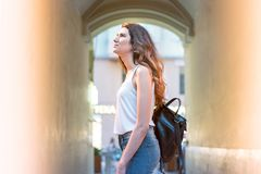 Girl on summer day in the street. Royalty Free Stock Photography