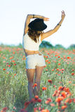 Beautiful girl in a summer field Royalty Free Stock Photography