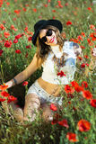 Beautiful girl in a summer field Stock Photography