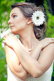 Beautiful girl in summer landscape Stock Images