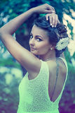 Beautiful girl in summer landscape. Beautiful girl of summer landscape Royalty Free Stock Photos