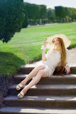 Beautiful girl in a summer park Royalty Free Stock Photo