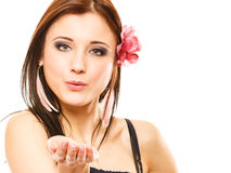 Beautiful girl in summer style blowing kiss. Flirty Royalty Free Stock Image