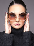 Beautiful girl with summer sunglasses and eye wear close up commercial concept. Retro and new trends Royalty Free Stock Image