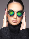 Beautiful girl with summer sunglasses and eye wear close up commercial concept. On white Stock Photo
