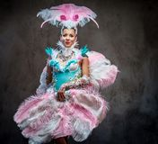 Beautiful girl in a sumptuous carnival feather suit. Isolated on a dark background Royalty Free Stock Images