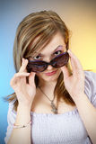 Beautiful girl in sun glasses Stock Photos