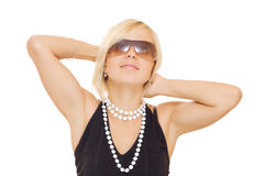 Beautiful girl in sun glasses. On white background Stock Image