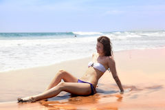 Beautiful girl sunbathes Royalty Free Stock Images