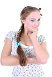 Beautiful girl in sundress with plait Stock Photo