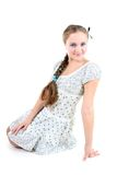 Beautiful girl in sundress with plait Stock Images