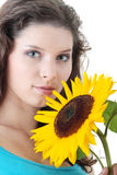 Beautiful girl with sunflower Stock Photo