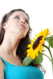 Beautiful girl with sunflower Stock Images