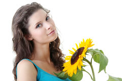 Beautiful girl with sunflower Royalty Free Stock Photography