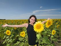 Beautiful girl in the Sunflower Stock Photography