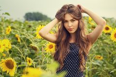Beautiful girl with sunflowers Stock Image