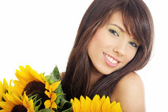 Beautiful girl with sunflowers on white background Stock Photography