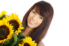 Beautiful girl with sunflowers on white background Royalty Free Stock Photos