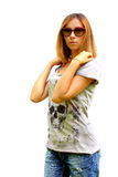 The beautiful girl in sunglasses royalty free stock images