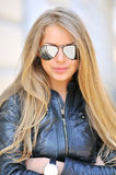 Beautiful girl in sunglasses, close-up. Beautiful and fashion girl in sunglasses, close-up portrait stock photo