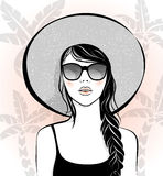 Beautiful girl with sunglasses and hat Stock Photos