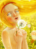 Beautiful girl on the sunny field illustration Royalty Free Stock Image