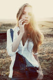 Portrait of the beautiful girl in sunset Stock Images