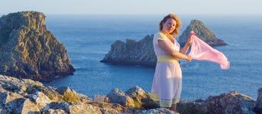 The beautiful girl at sunset, Pen Hir, Bretagne Stock Photos