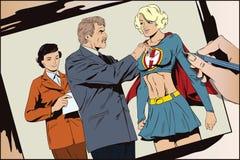 Beautiful girl superhero awarded a medal. Stock illustration. Stock illustration. People in retro style pop art and vintage advertising. Beautiful girl vector illustration